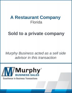 A Restaurant Company Sold by Murphy Business Clearwater Office