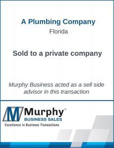 A Plumbing Company Sold by Murphy Business Clearwater Office