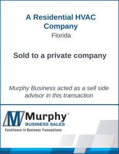 A Residential HVAC Company Sold by Murphy Business Clearwater Office