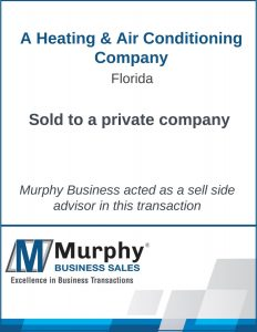 A Heating & Air Conditioning Company Sold by Murphy Business Clearwater Office